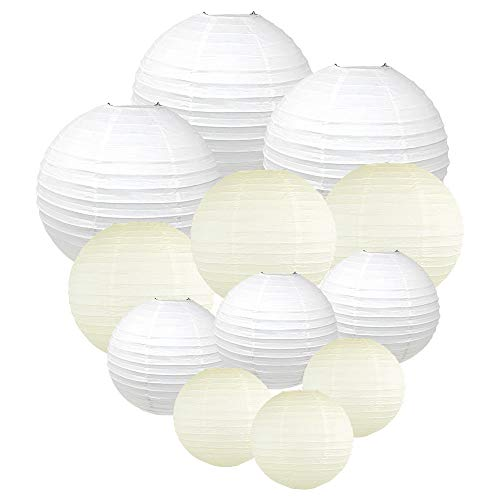 Just Artifacts Decorative Round Chinese Paper Lanterns 12pcs Assorted Sizes & Colors (Color: Whites & -
