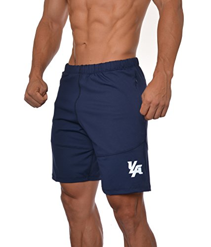 YoungLA Men's Yoga Running Shorts w/Zipper Pockets Navy Medium
