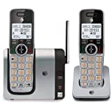 AT&T CL81214 DECT 6.0 Expandable Cordless Phone with Caller ID and Big Buttons, Silver/ Black with two handsets