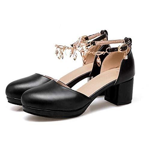 Verano Tacón Zapatos Tacones Blanco Mujer Poliuretano de Comfort de PU ZHZNVX Grueso Negro White 0fFqw
