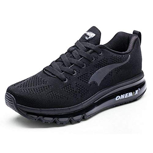 ONEMIX Mens Air Max Knit Trail Running Shoes Flyknit 2018 Lightweight Walking Shoe Athletic Outdoor Sport Jogging Gym Trainer Shoes Sneaker - Black 41