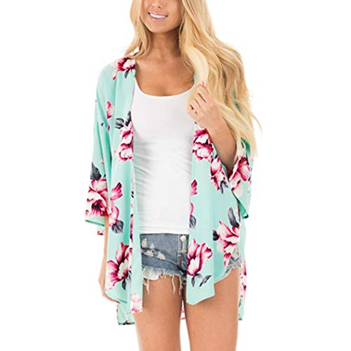 Realdo Women Three Quarter Sleeve Floral Print Kimono Cardigan Tunic Tops T Shirt(Medium,Green) (Jenny Print Tunic)