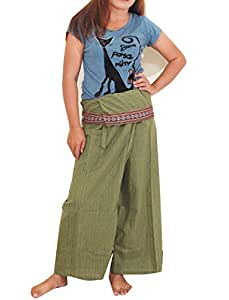 Flower Thai Fisherman Pants Yoga Trousers FREE SIZE Plus Size Cotton