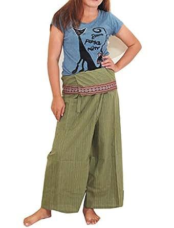 NiceFlower Thai Fisherman Pants Yoga Trousers FREE SIZE Plus Size Cotton