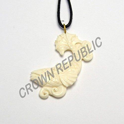 Kohaku Koi Bone Pendant, Hand Carved Water Buffalo ()