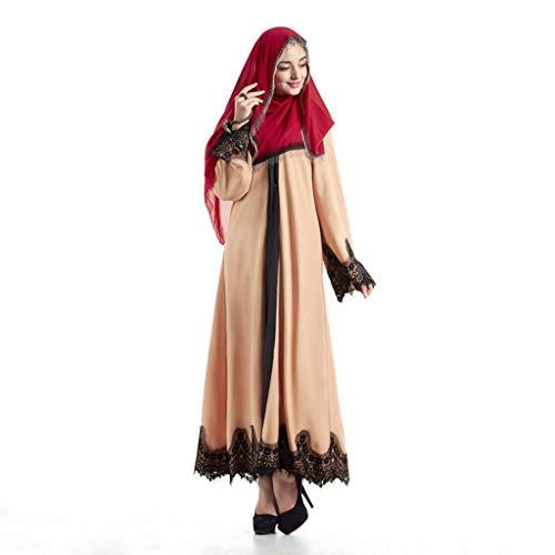 Mysky Fashion Classic Elegant Lace Patchwork Maxi Cardigan Robe for Turkish Hijab Islamic Prayer Women Khaki]()