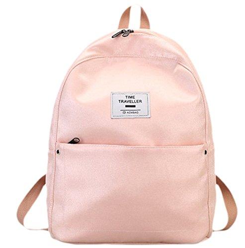 Señoras Mochilas Bolsos Bolsos Lienzo Bolsa De Estudiante De Color Sólido Simple Y Sencilla Bolsos De Terciopelo Pink