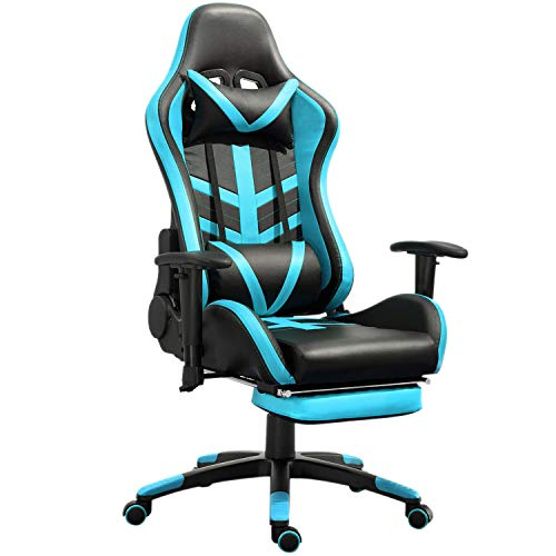 Samincom High Back Large Size PU Leather Gaming Chair Racing Style Chair Office Chair Executive and Ergonomic Style Swivel Chair with Extra Soft Headrest & Lumbar Cushion & Footrest (Black/Lake Blue)