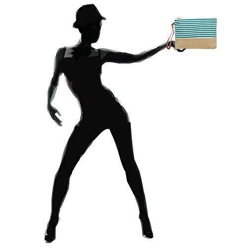 CASPAR avec jute Turquoise rayures de toile Sac femme pour Pochette en d'été TS355 qvwqrgBz