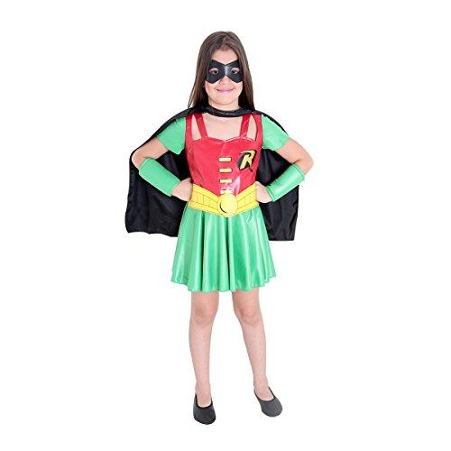Fantasia Robin Feminina Infantil Sulamericana Fantasias G 10/12 Anos