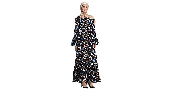 40a4446f5f LILICAT✈✈ 2019 Bata de Verano Elegante Vestido Largo túnica Vestido de  Cadera con Mangas de Trompeta de Rayas Plisadas y Sexy de Verano musulmán  Verano ...