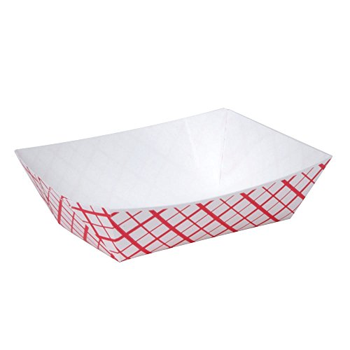 - A World Of Deals #25 Paperboard Red Check Food Tray, 1/4-lb Capacity (Pack of 250)