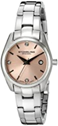 Stuhrling Original Women's 414L.02 Classic Ascot Prime Watch with Pink Dial and Swarovski Crystals