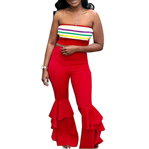 - Women High Waisted Bell Bottoms Solid Stretch Ruffle Leggings Fit Flare Pants M Red