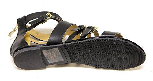 C. Etikett Darby-2 Kvinna Öppen Tå Strappy Övre Ankelbandet Bakre Zip Förslutnings Sandaler Svarta