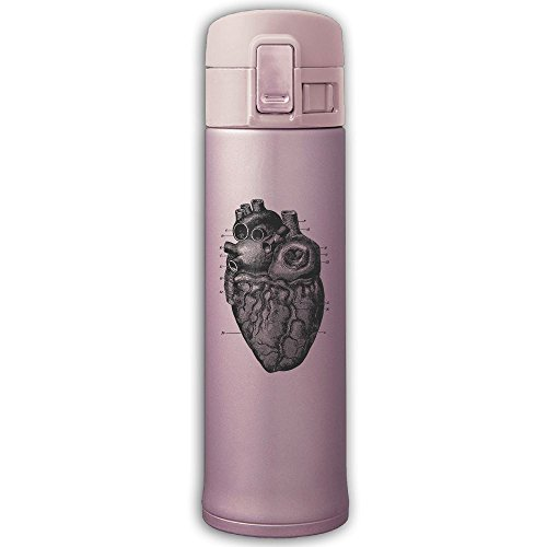 Anatomic Drop - Stainless Steel Mug Heart Anatomic Map Bouncing Cover Insulation Vacuum Cup Bottle Thermos Travel Mug Pink