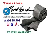 Firestone W56PL452020 EPDM Rubber Pre Cut and Boxed Pond Liner, Black, 20-Foot length x 20-Foot Width x 0.045-Inch Thick