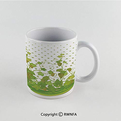 11oz Unique Present Mother Day Personalized Gifts Coffee Mug Tea Cup White Grapes Home Decor,Flowers Cluster Sherry Leaf Province Garden Retro Refreshing Tasty Countryside,Green Funny Ceramic Coffee ()