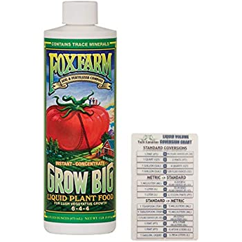 FoxFarm Grow Big Liquid Concentrate, 16 oz (1 Pack) + Twin Canaries Chart