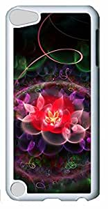Fashion Customized Case for iPod Touch 5 Cool White Plastic Case Back Cover for iPod Touch 5th with Lotus