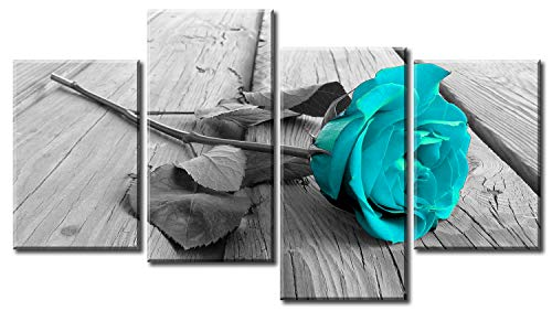 Large Black White Teal Rose Floral Canvas Wall Art Pictures on Grey XL Split Set-Big Modern Flower Prints-Multi Panel Turquoise Artwork,4P Paintings Home Decoration Stretched and Framed Ready to -