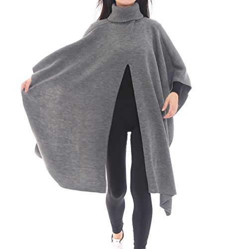 (Bruceriver Women's Knitted Open Front Turtleneck Pullover Sweater Poncho Topper (heather gray))