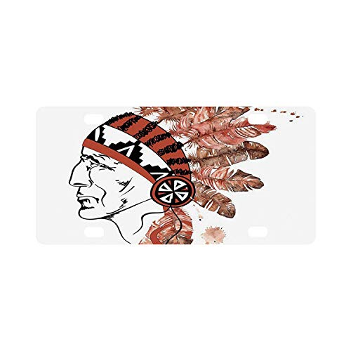 C COABALLA Feather Simple Classic License Plate,Artistic Portrait Native American Tribe Chief with Traditional Headdress Decorative for Car,12