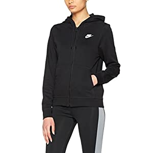 NIKE Women's NSW Hoodie Full Zip Fleece, Black/Black/Black/White, X-Small