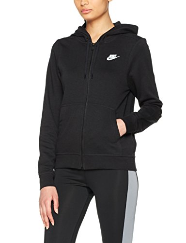 Nike Womens Club Full Zip Hoodie Black/White 853930-010 Size X-Small