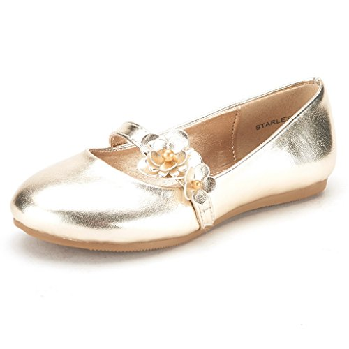 Dream Pairs Starlet Adorable Mary Jane Side Flowers Casual Slip On Ballerina Flat  Toddler  Little Girl   New Gold Size 9
