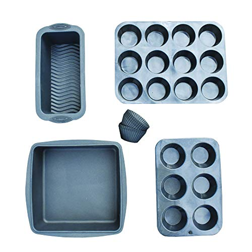 Olive's Kitchen Silicone Bakeware (16 Piece) – Metallic Charcoal Molds for Baking – Non-Stick, BPA Free Baking Sets…
