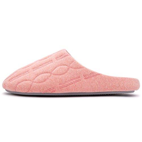 Pantofole Da Donna In Memory Foam Trapuntate Cotone Con Ricamo Elegante Rosa Corallo