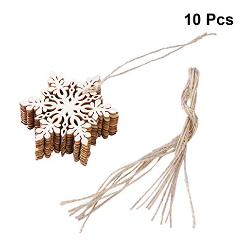 - Tinksky 10pcs Sharp Hexagonal Wooden Snowflake,Christmas Tree Decorations,Hanging Ornament,Christmas Decoration Pendants (Wood Color)