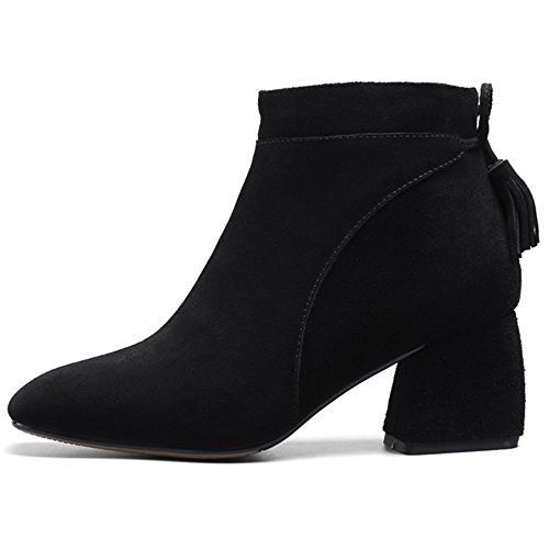Black Nine Chunky Handmade Leather Ankle Suede Women's Square Seven Tassel Boots Toe Zip Side Heel H6nW6UCr