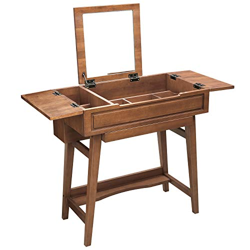 VASAGLE Vanity Table with Flip Top Mirror, Solid Wood Makeup Dressing Table Desk, 6 Organizers for Different Sized Makeup Accessories, 1 Small Drawers for Lipsticks, Powders, Saddle Brown URDT26BR]()