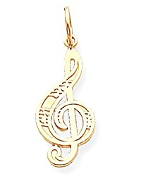 IceCarats 10k Yellow Gold Treble Clef Pendant Charm Necklace Musical