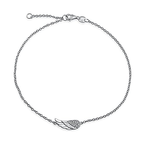 Link Silver Bracelets Sterling Angel - Angel Wing Feather Shape Anklet Protection Guardian Charm CZ Anklet Link Bracelet Sterling Silver Electrocoating 9-10In