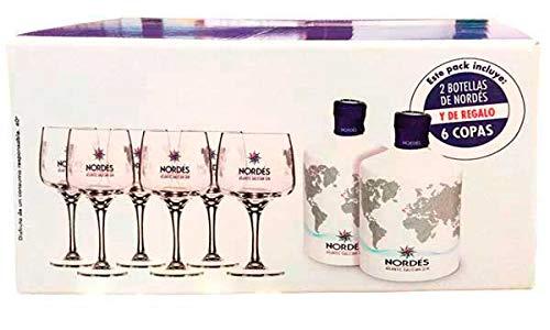 Nordés Pack de 2x700 ml Ginebra Nordés + 6Copas: Amazon.es ...