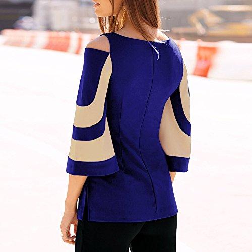 Shirt Blu Lunghe Camicie Donna Tops Neck T Maniche Casual Elegante Camicette Felpa Pullover ABCone Autunno f6qXS