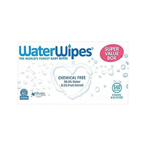 Waterwipes Valor Paquete De Toallitas Súper Sensible De Los Bebés De 9 X 60 Por Paquete - Paquete de 2: Amazon.es: Bebé