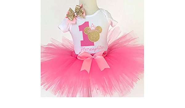Girls Pink and Sparkle Silver Elephant Appliqu\u00e9 Shirt and Ribbon Trimmed Tutu Birthday Outfit with Matching Headband and Chunky Necklace.