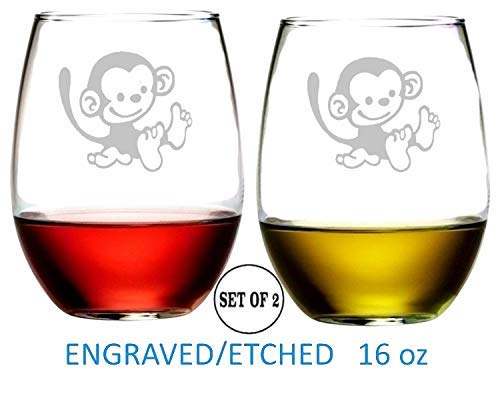 Monkey Stemless Wine Glasses Etched Engraved Perfect Handmade Gifts for Everyone Set of 2 -