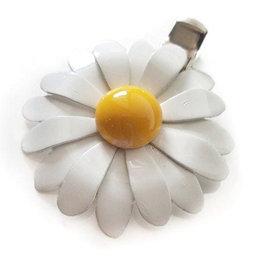 70s Style White and Yellow Enamel Daisy Hair Clip