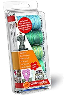 Gutermann Thread Set Machine Embroidery Cotton 12 - Aqua
