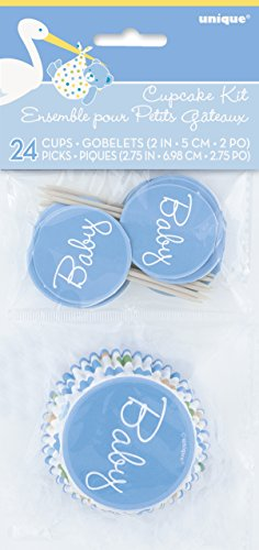 Blue Stork Boy Baby Shower Cupcake Kit for 24 by Unique