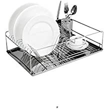 Stainless Steel Kitchen Dish Drying Rack with Removable Tray & Cutlery Holder