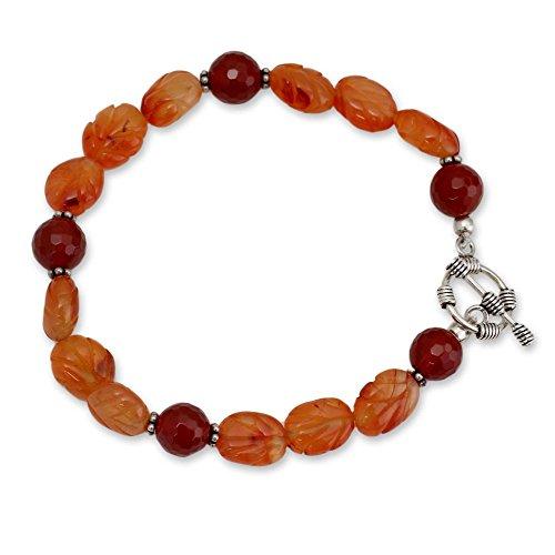 NOVICA Carnelian .925 Sterling Silver Beaded Bracelet 'Sunset Forest' (Beaded Bracelet Sunset)