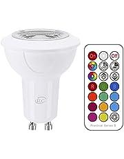 iLC LED GU10 kleur veranderende lamp, LED spots lamp, 3W dimbaar warm wit (2700K) RGB LED-lamp, vervangt gloeilamp met 20W halogeenlampen, 120° abstracte hoek, 200 lumen, 85CRI SuperHigh Display, Socket Screw LED licht, sfeerlicht - Dual Memory - 12 kleuren - Timing Infrarood afstandsbediening inbegrepen
