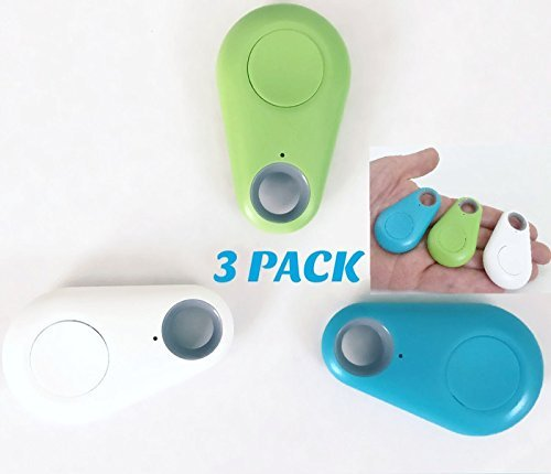 3 PACK Bluetooth Anti Loss Key Tracker and Remote Photo Shutter for iPhone or Android. Key Finder, Locator for Phone, Wallet, Remote, Backpack. Easy Selfie Shutter. [White, Green, Blue]