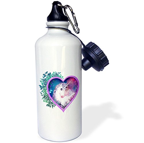 3dRose wb_11646_1 An Mythical Elf Creature of The Forest Who Plays a Haunting Melody on An Enchanted Flute Sports Water Bottle, 21 oz, White ()